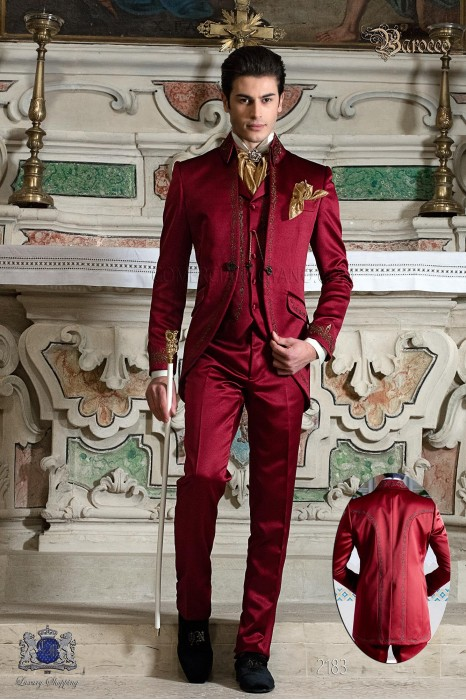 Groomswear Baroque. Vintage suit jacket in red satin embroidered with gold colored yarns.