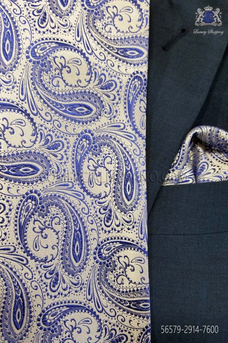 Blue cashmere tie and handkerchief