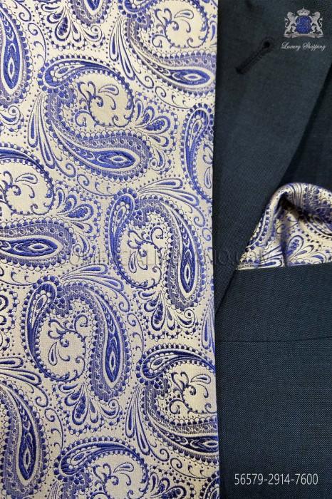 Blue cashmere tie and handkerchief