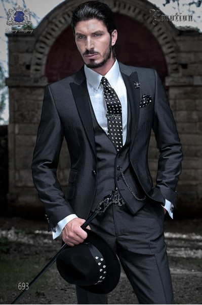 "Italian fashion three-piece set with modern cut ""Slim"" peak lapels and one button. Hand woven alpaca charcoal."
