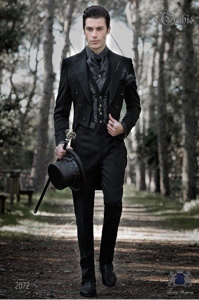 Baroque black jacquard groom tailcoat