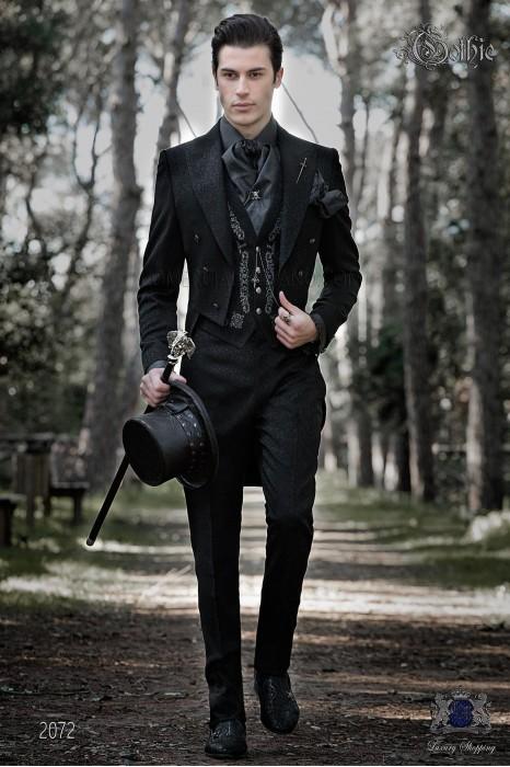 Baroque black jacquard groom tailcoat