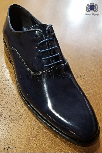 Blue leather lace-up men shoes