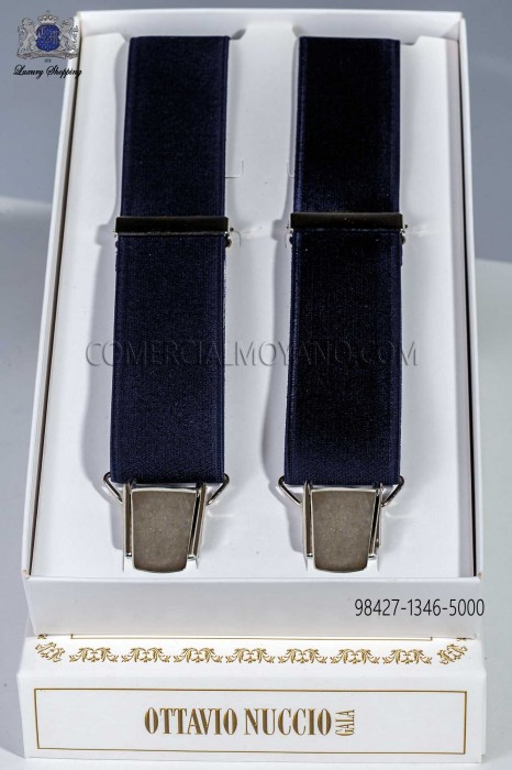 Blue elastic groom braces in satin look