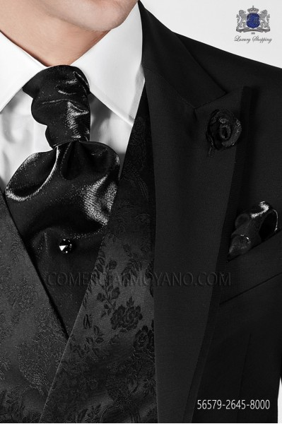 Black ascot tie and handkerchief