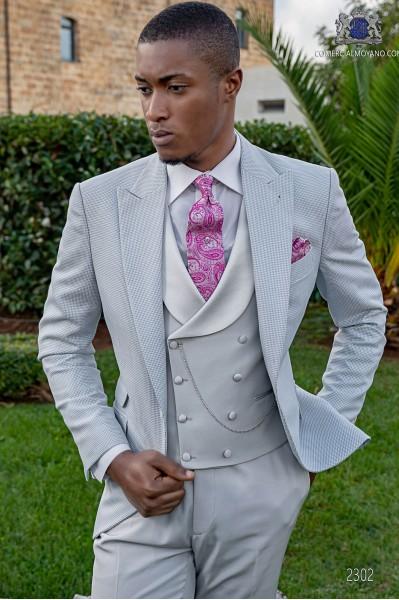 Light grey bespoke Prince of Wales suit