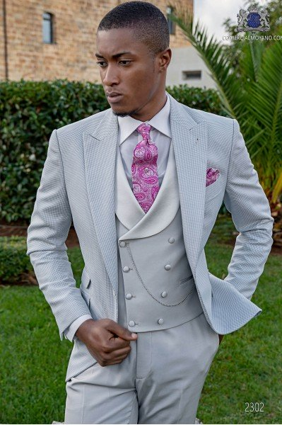 Light grey bespoke Prince of Wales suit