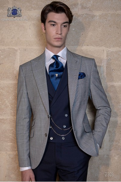 Blue suit bespoke Prince of Wales