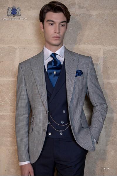 Schottenmuster blau Bräutigam Anzug