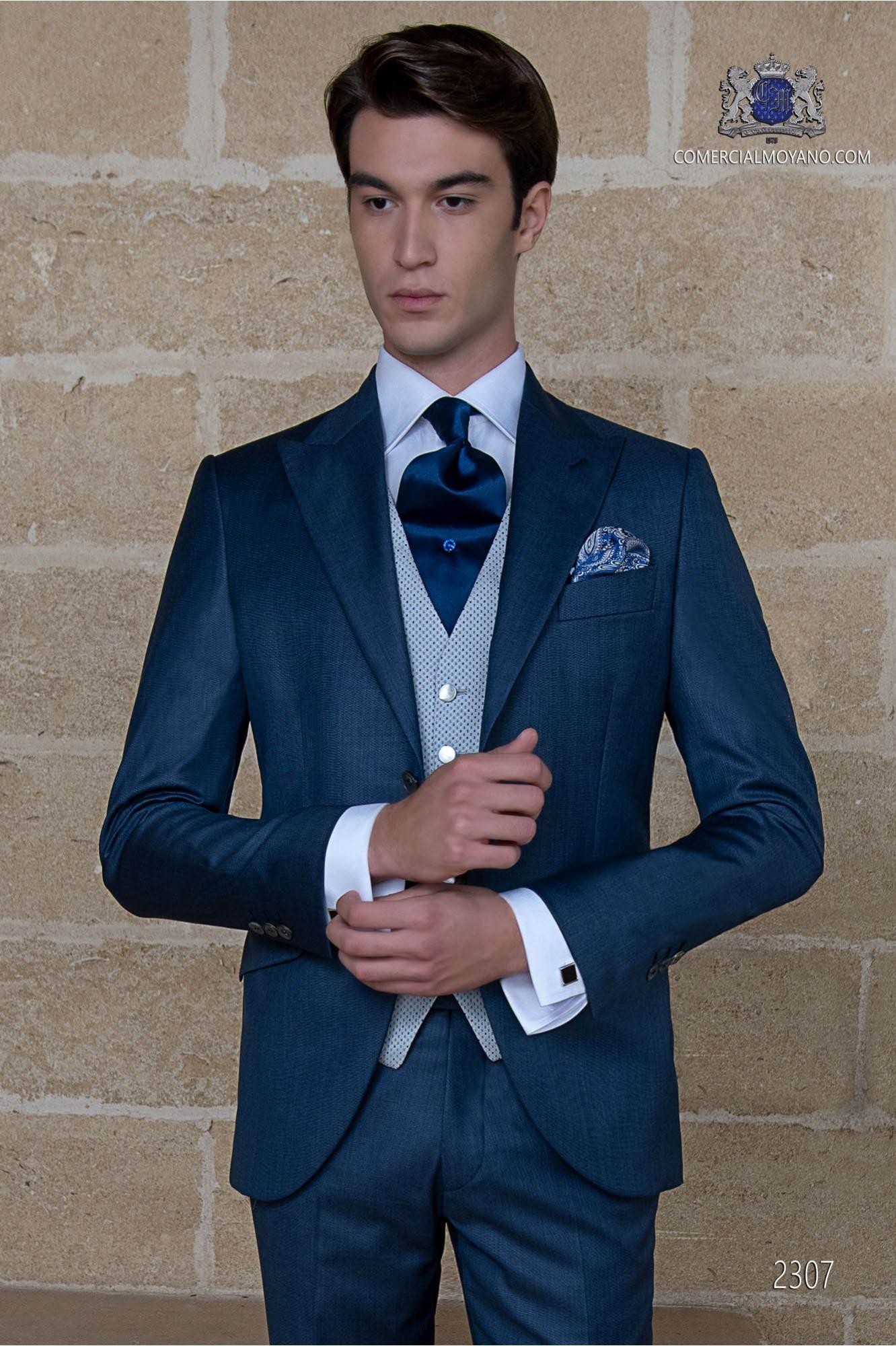 Italian blue wedding suit