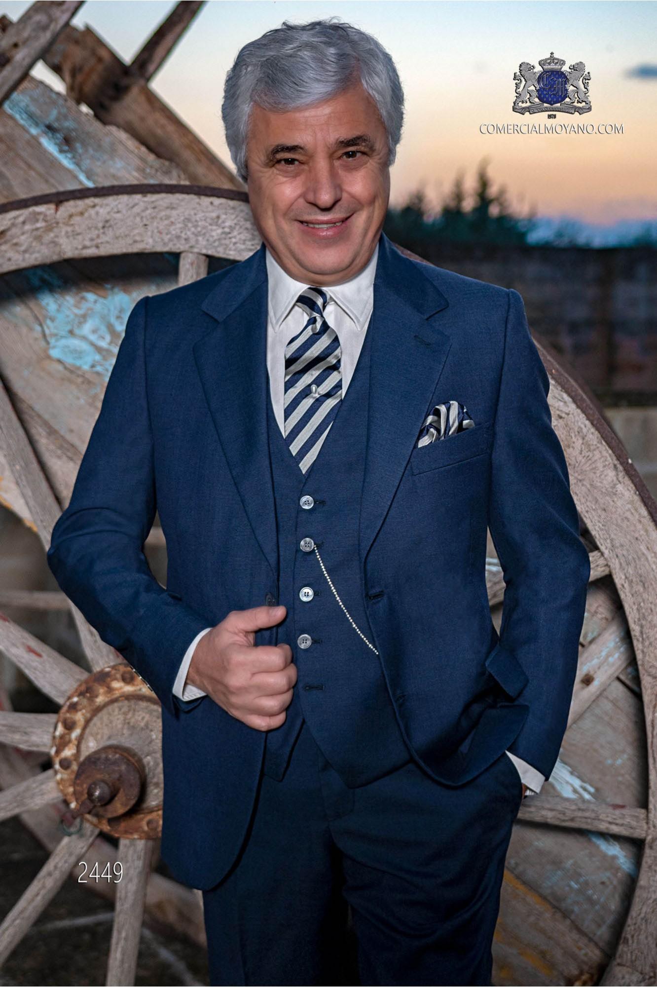 Italian bespoke suit navy blue