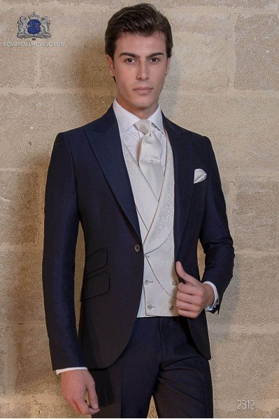 Bespoke navy blue mohair wool mix alpaca suit