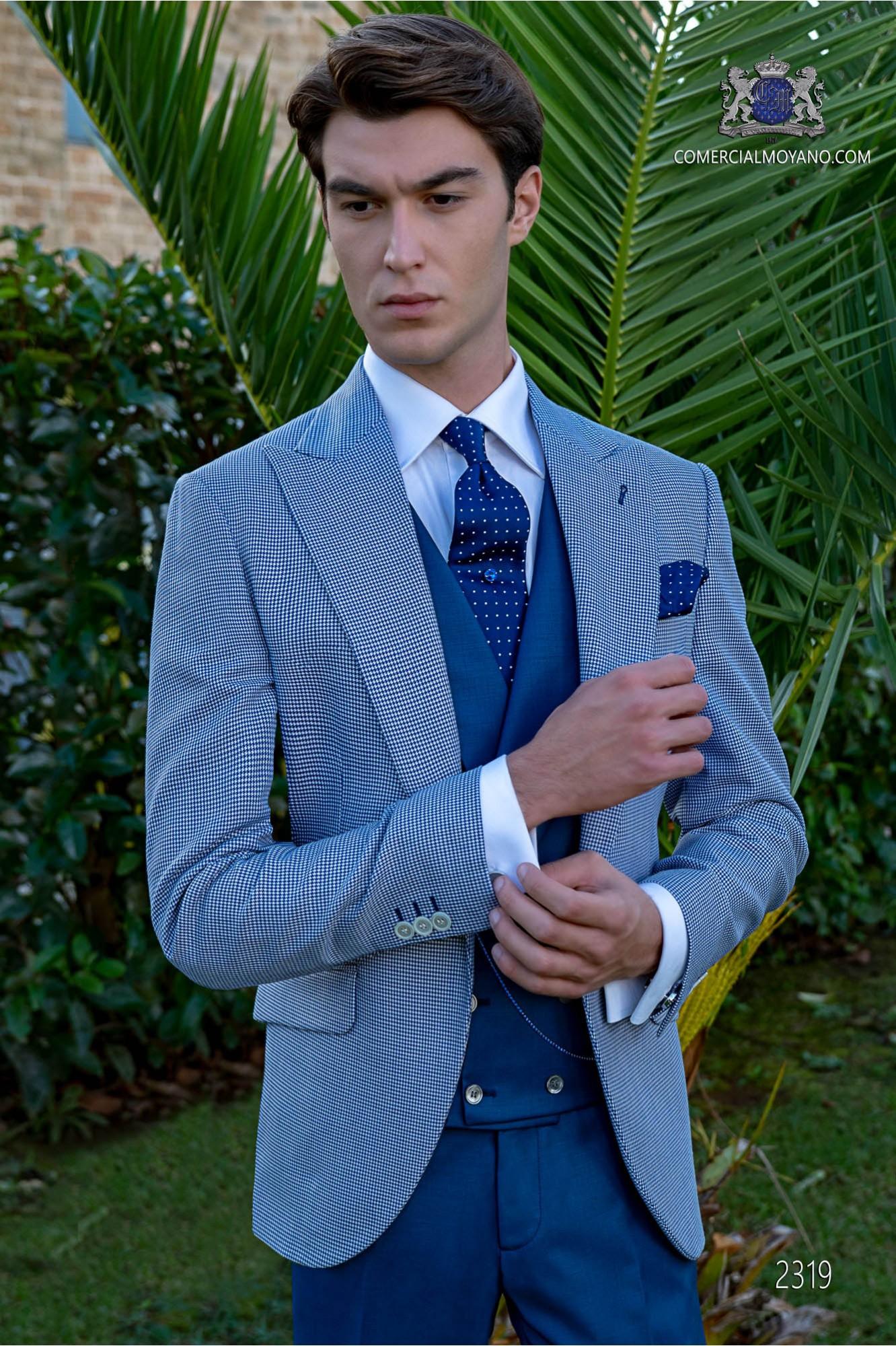 Blue houndstooth groom suit