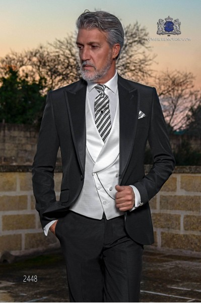 Italian bespoke black wedding suit