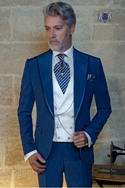 Italian bespoke electric blue suit