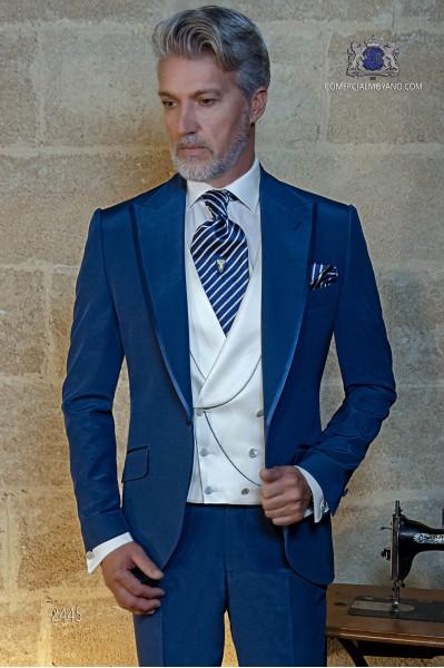 Royal blaue Anzug mit Satin Kontrast