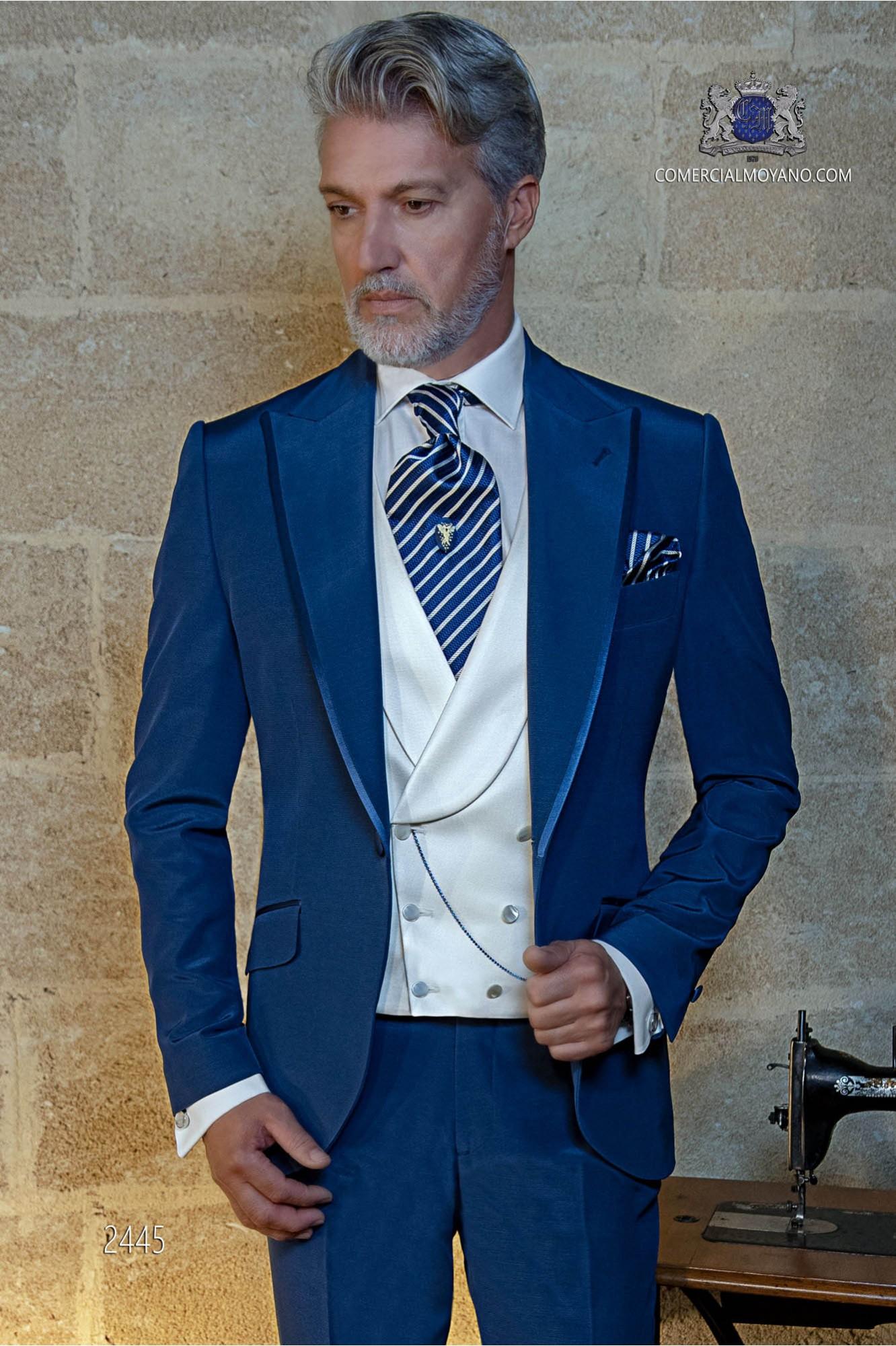 Italian bespoke electric blue suit