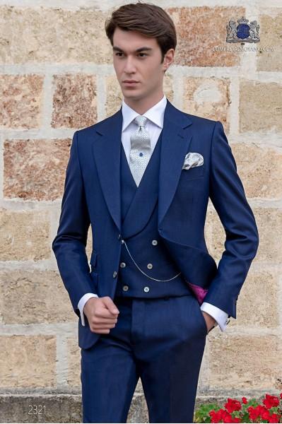 Italien costume classique de mariage bleu royal de laine mélangée mohair alpaga