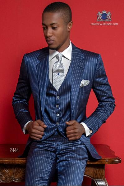 Costume homme bleu à rayures