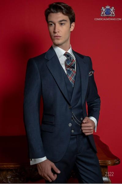 Klassischer italienischer blauer Bräutigamanzug fil a fil.