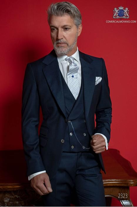 Classic Italian blue groom suit fil a fil.
