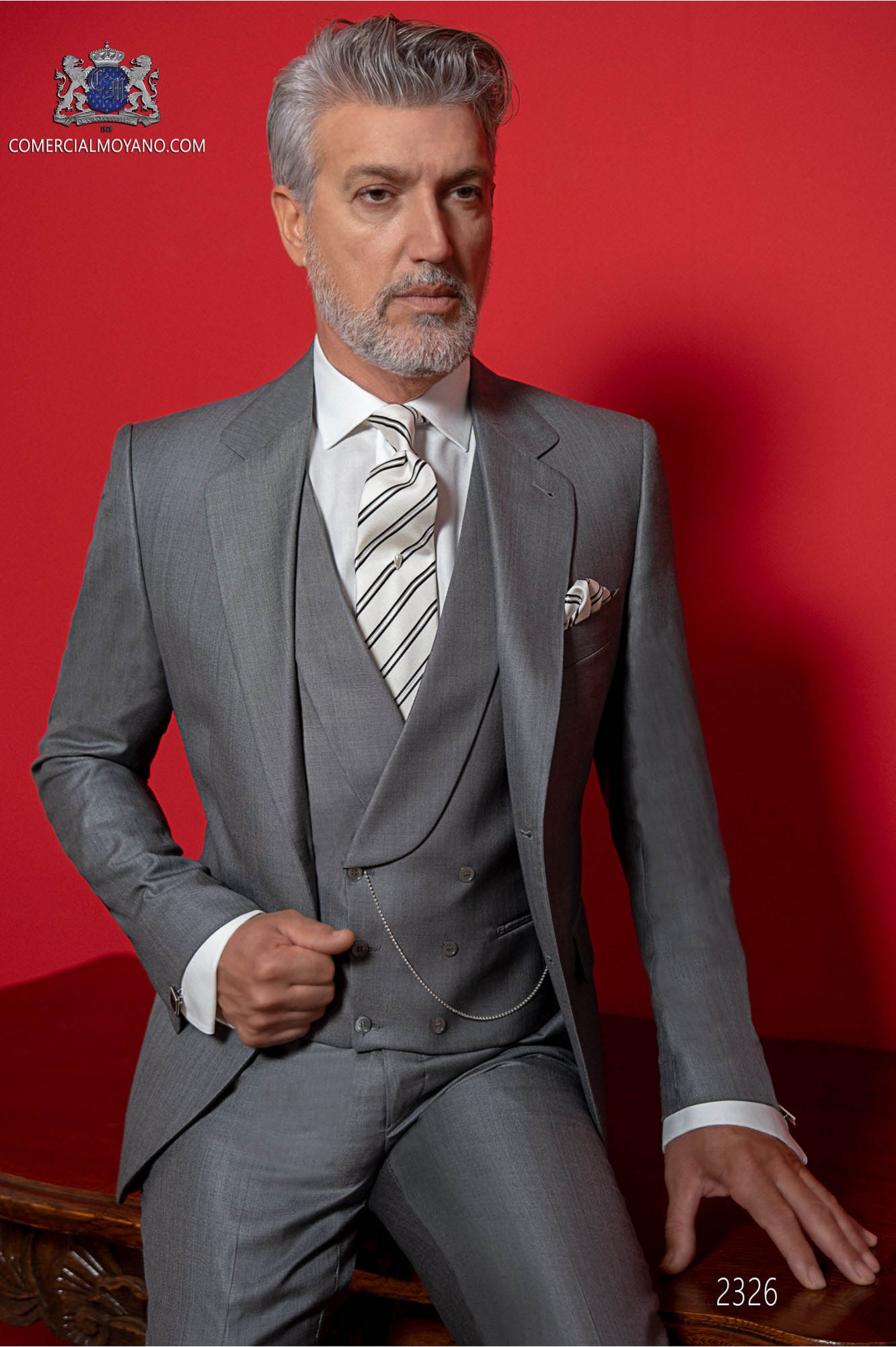 Italian gray suit with elegant