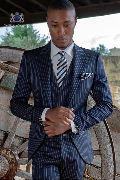 Italian bespoke blue pinstripe suit