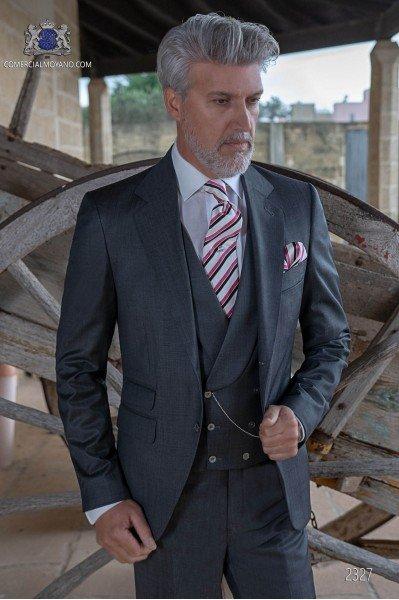 Traje de novio italiano a medida gris antracita fil a fil mixto lana.