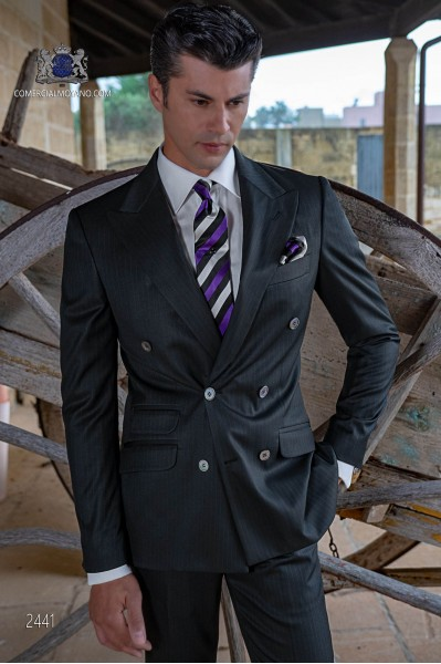 Italian bespoke black pinstripe double breasted suit
