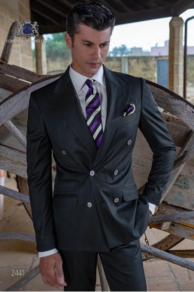 Nadelstreifen schwarz zweireihige Herren Anzug
