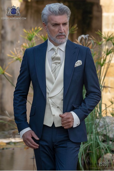 Italian wedding suit Slim stylish cut. Peak lapel with contrast fabric piping. Made from wool and acetate fabric in blue.