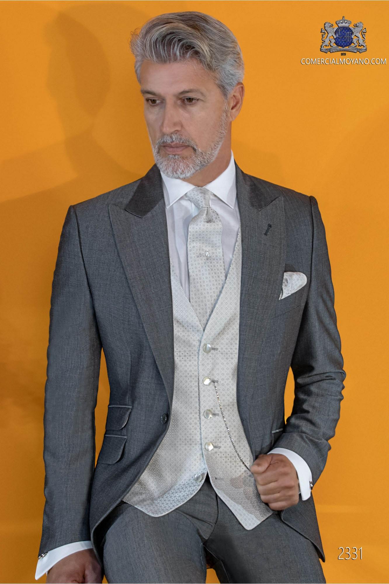 Bespoke grey suit mohair wool mix alpaca