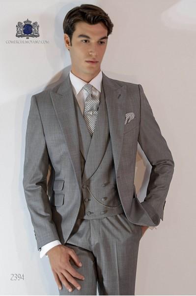 Costume homme italien gris clair fil à fil de laine mélangé