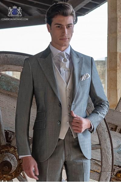Bespoke pearl grey morning suit mohair wool mix alpaca