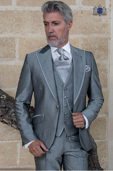 Bespoke light grey suit mohair wool mix alpaca