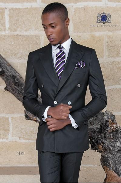 Costume homme croisé noir à rayures