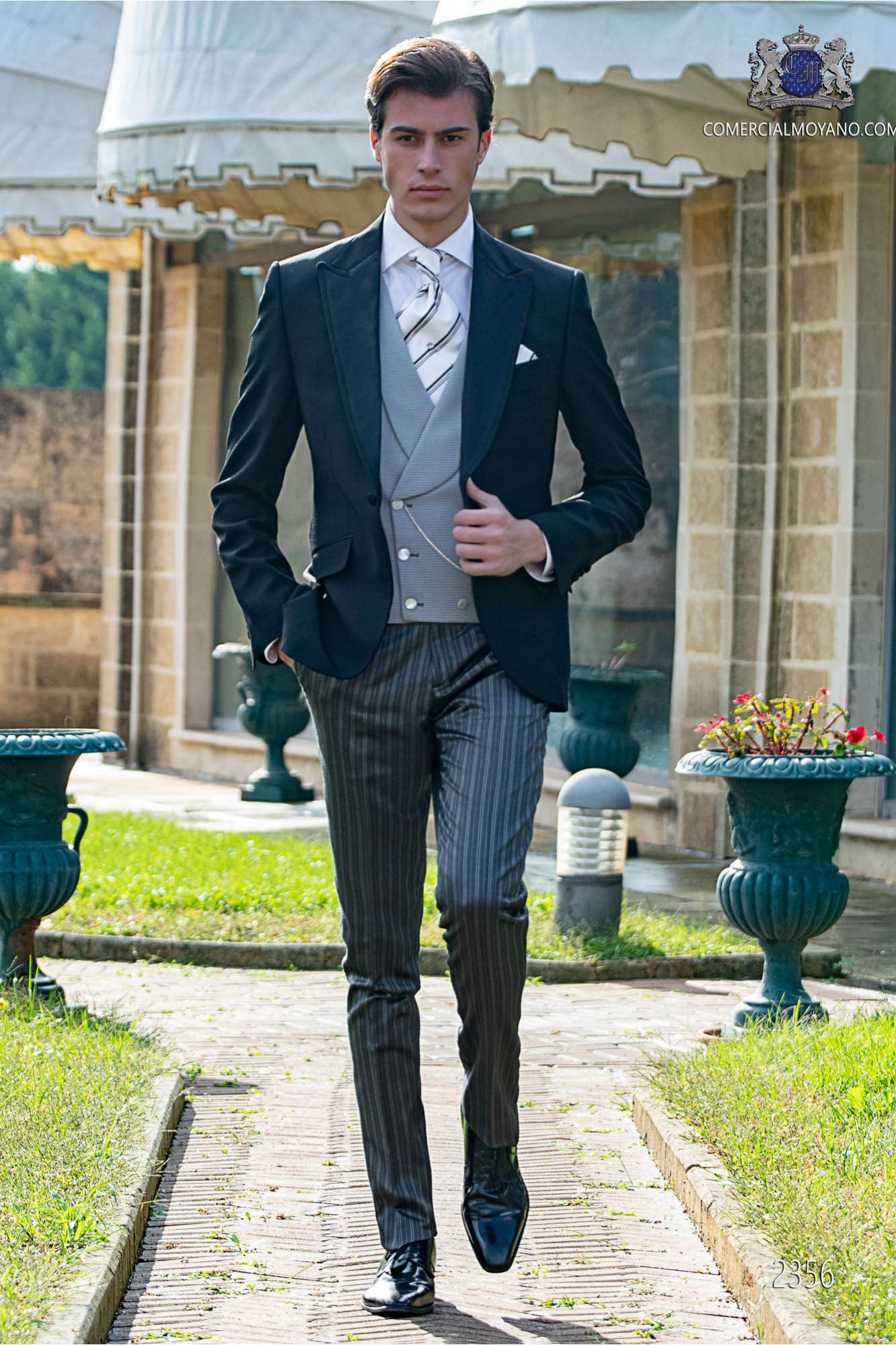 Wedding Attire For Men.Italian Black Men Wedding Suit Coordinated With Pinstripe Trousers
