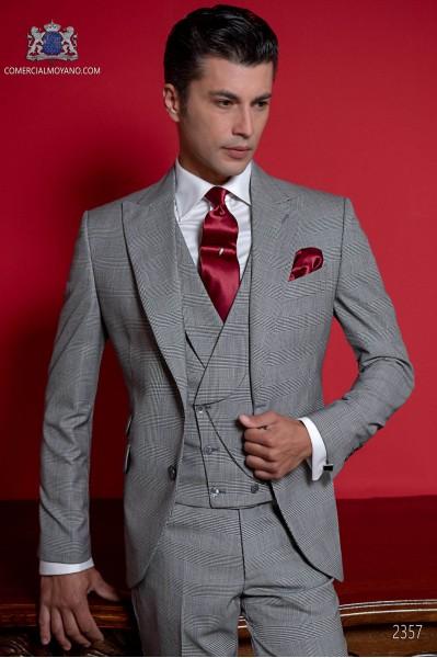 """Costume de mariage """"Prince of Wales"""" gris et bleu"""
