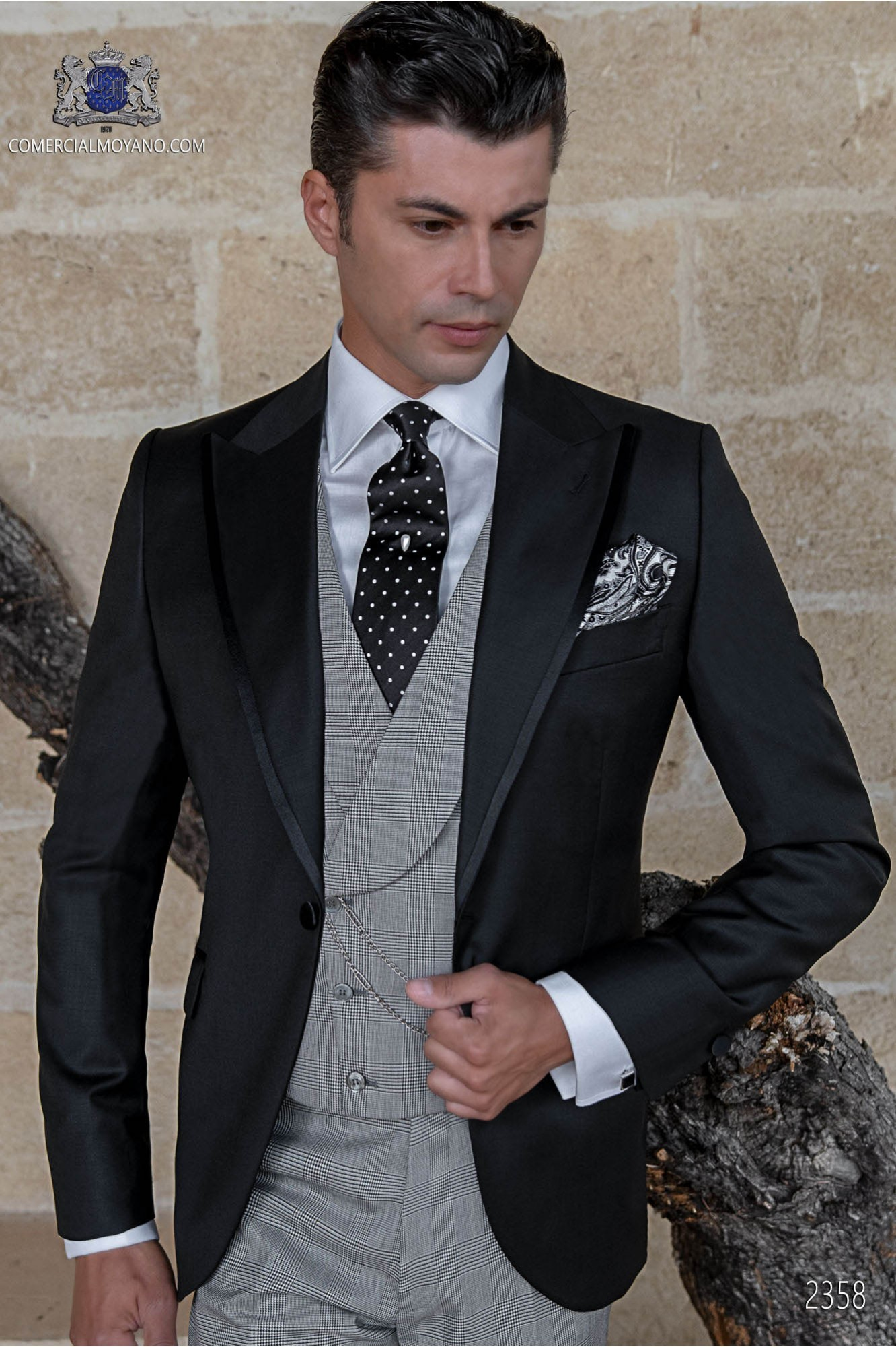 Italian bespoke black wedding suit coordinated with Prince of Wales trousers