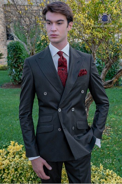 Black Italian suit double breasted suit wiht red pinstripe