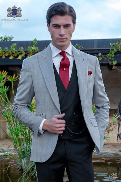 Traje italiano gris príncipe de gales cuadro rojo