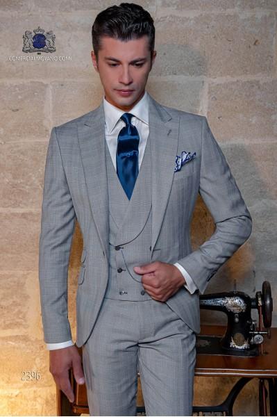 """Costume de mariage """"Prince of Wales"""" gris clair et bleu"""