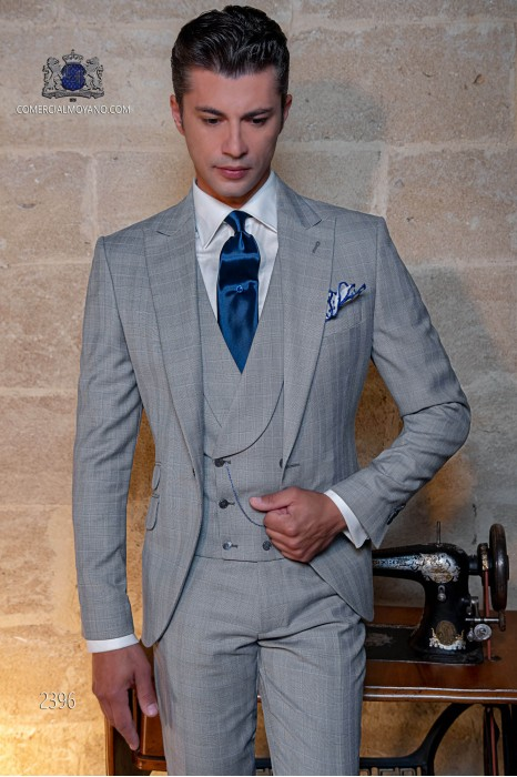Bespoke Prince of Wales light grey and blue suit