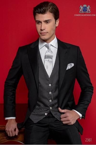 Costume homme italien noir sergé pur laine