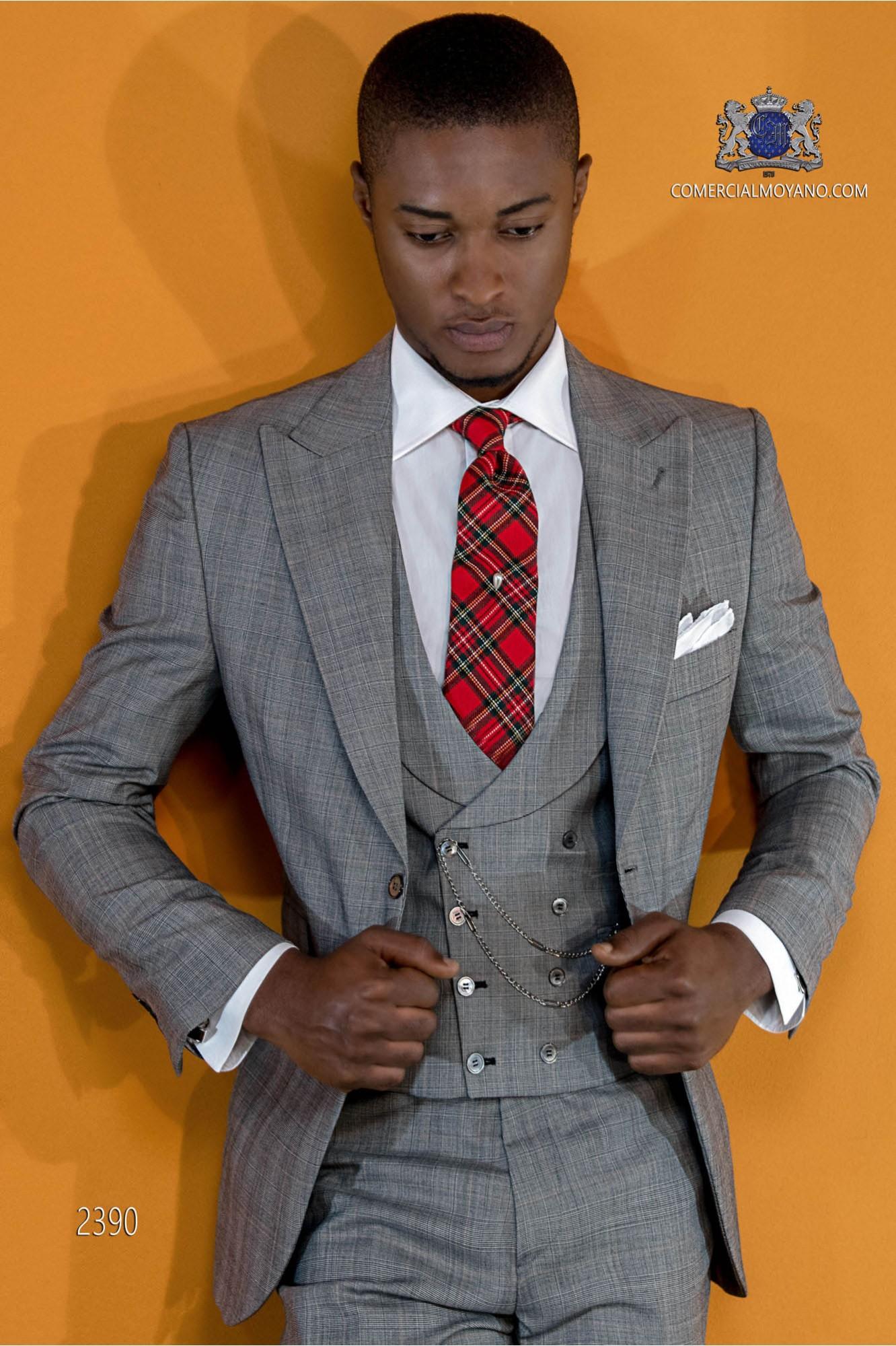 Italian Bespoke Prince of Wales grey morning suit