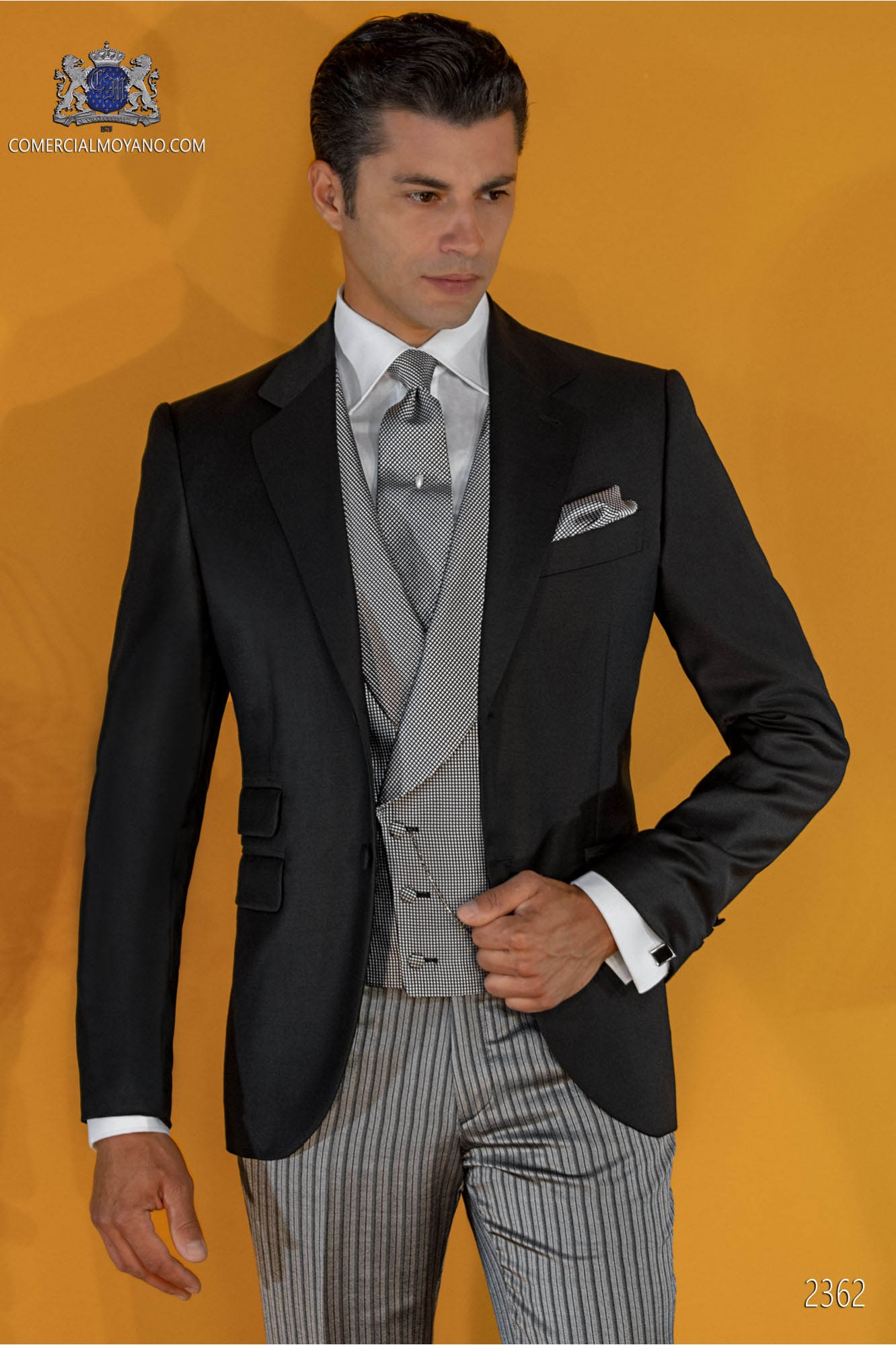 Italian tailoring black suit coordinated with pinstripe trousers