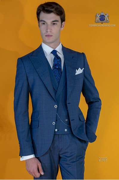 Bespoke Prince of Wales blue suit