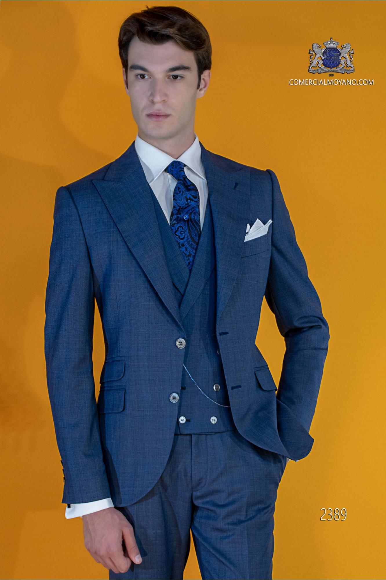 Bespoke Prince of Wales blue sui