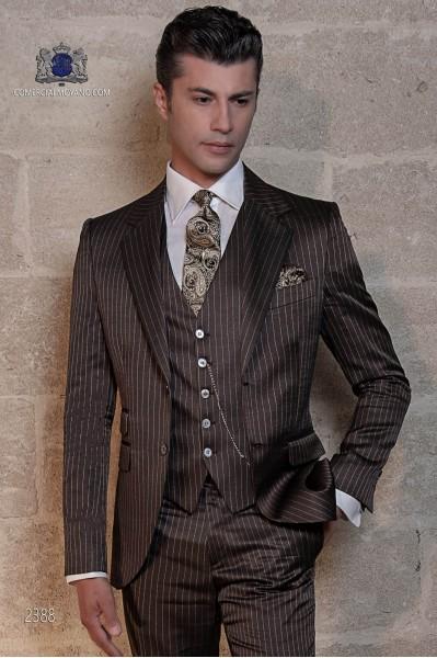 Italienisch maßgeschneiderte braune Nadelstreifen Bräutigam Anzug
