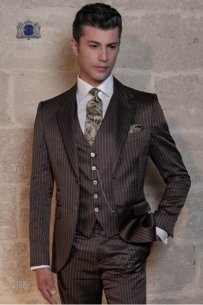 Italian bespoke brown pinstripe groom suit